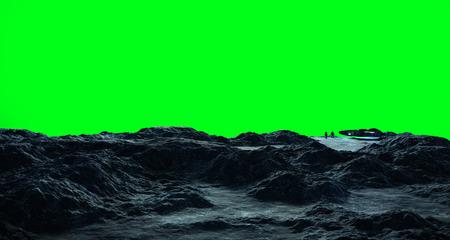 Gli astronauti con l'astronave esplorano un asteroide nello spazio 3D rendering elementi