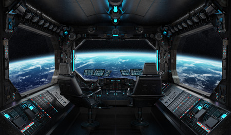 Spaceship grunge interior with view on planet Earth 3D rendering 스톡 콘텐츠
