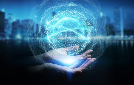 Uomo d'affari su fondo vago facendo uso della rappresentazione della sfera 3D della connessione di rete digitale Archivio Fotografico - 93721554