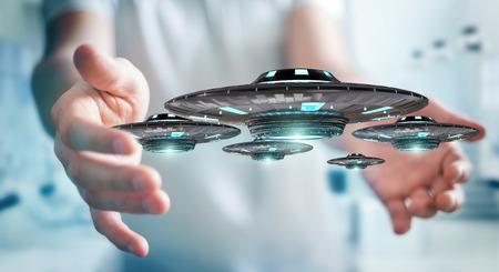 レトロなUFO宇宙船3Dレンダリングでぼやけた背景のビジネスマン 写真素材 - 93721613