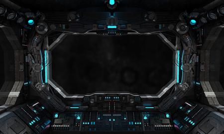 interior de la nave espacial de la vendimia con vista en una ventana aislada negro
