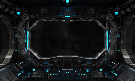 Raumschiff Grunge Interieur mit Blick auf ein isoliertes schwarzes Fenster