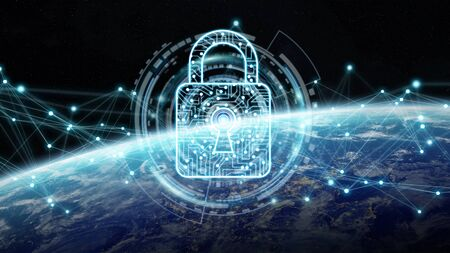 Cyber security and connections over the globe 3D rendering