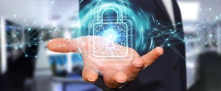 homme d & # 39 ; affaires sur fond flou en utilisant un cadenas numérique avec le rendu 3d de protection des données
