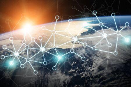 Sistema di connessioni e scambi di dati globali nel mondo Rendering 3D Archivio Fotografico