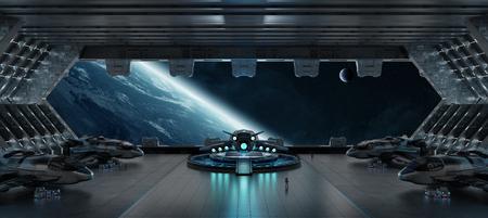 Huge blueish landing strip spaceship interior 3D rendering