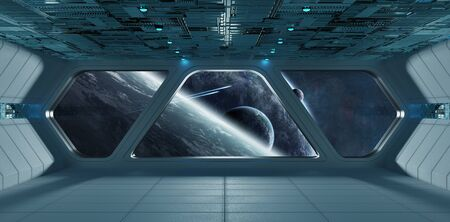 Spaceship futuristic grey blue interior with view on exoplanets 3D rendering elements of this image furnished by NASA