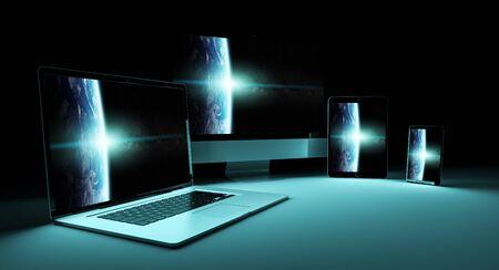 Modern digital silver tech device in dark background 3D rendering