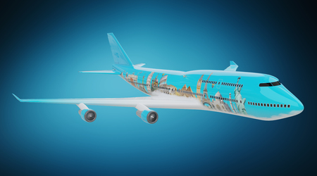 Plane with famous landmarks of the world isolated on blue background 3D rendering