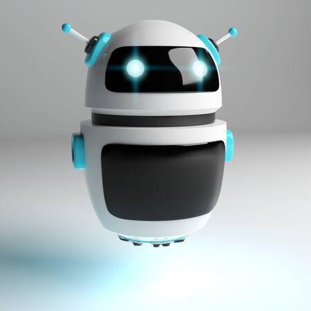 Futuristic digital chatbot on grey background 3D rendering Reklamní fotografie
