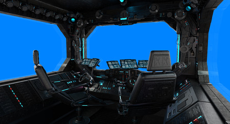 Spaceship grunge interior with view on a isolated blue window Stock Photo
