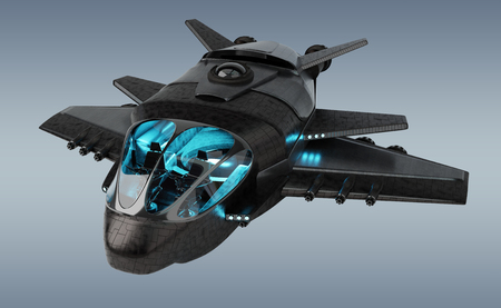 Black mettalic futuristic spacecraft isolated on grey background 3D rendering