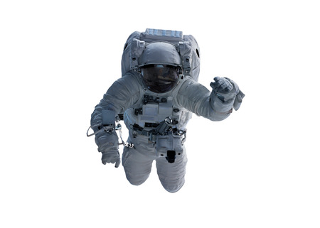 Astronaut floating isolated on white background 3D rendering elements
