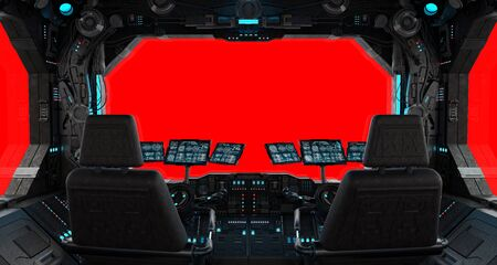 Spaceship grunge interior with view on a isolated red window Stock Photo
