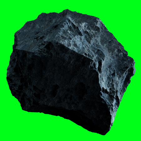 Dark rock asteroid isolated on green background 3D rendering