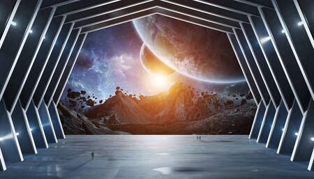 Huge blueish hall spaceship interior 3D rendering elements of this image furnished by NASA