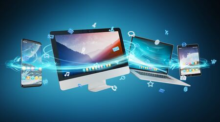 Tech devices and icons applications connected and isolated on blue background 3D rendering