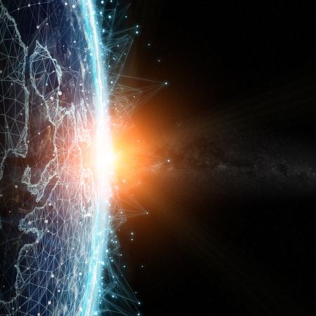 Système de connexions et échanges de données globales sur le globe Les éléments de rendu 3D de cette image fournis par la NASA