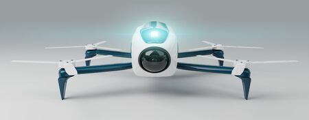 Modern drone on white background 3D rendering