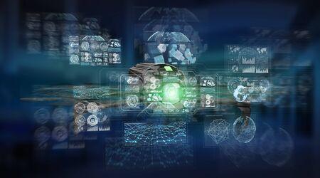 Modern drone on blue server background 3D rendering