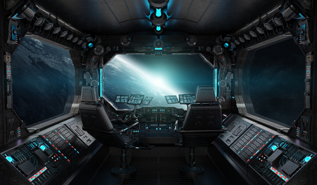 Spaceship grunge interior with view on planet Earth 3D rendering elements of this image furnished by NASA