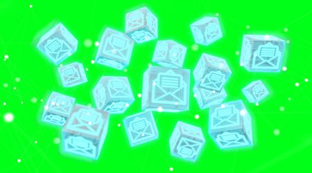 Floating cube emails illustration on green background 3D rendering Stock Photo