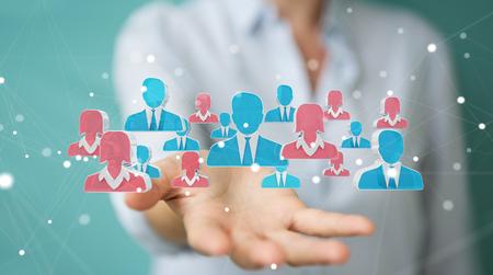 Femme d'affaires sur fond flou recrutement candidat pour un travail de rendu 3D Banque d'images - 94644648