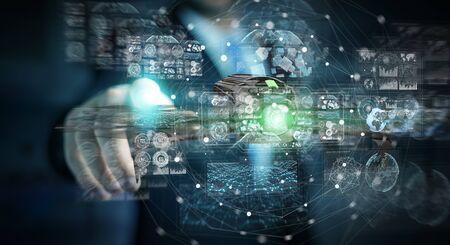 Businessman on blurred background using modern drone 3D rendering Imagens