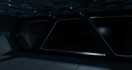 Spaceship futuristic interior with isolated black window view Stock Photo