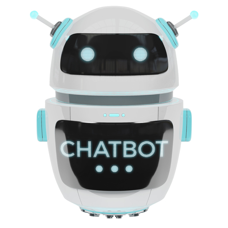 Futuristic digital chatbot isolated on white background 3D rendering Stok Fotoğraf