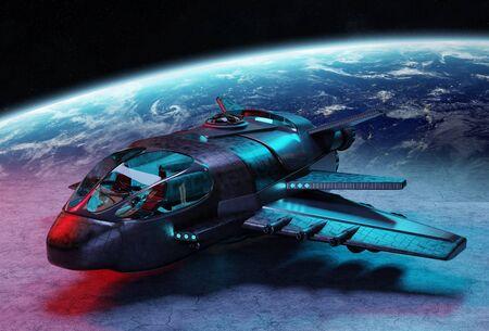 Black metallic futuristic spacecraft on planet background 3D rendering