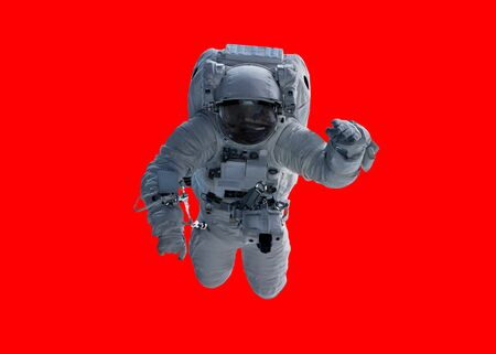 Astronaut floating isolated on red background 3D rendering