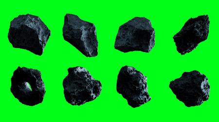 Dark rock asteroid pack on green background 3D rendering