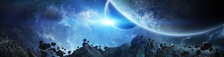 Panorama of a distant planet system from space during sunrise 3D rendering Stock Photo