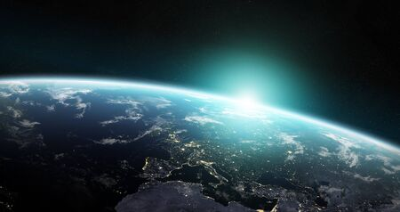 View of blue planet Earth in space with her atmosphere Europe continent 3D rendering