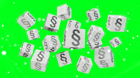 3D rendering law cubes isolated on green background Banque d'images
