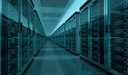 ダークサーバールームデータセンターストレージ内部3Dレンダリング