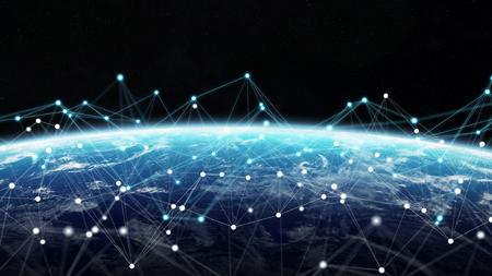 Système de connexions et échanges de données globales sur le globe Rendu 3D Banque d'images - 95827499