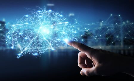 Businessman using digital x-ray human brain interface with cell and neurons activity 3D rendering Stock Photo