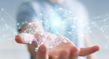 Homme affaires, utilisation, numérique, rayon x, cerveau humain, interface, à, cellule, et, neurones, activité, 3d, rendre Banque d'images