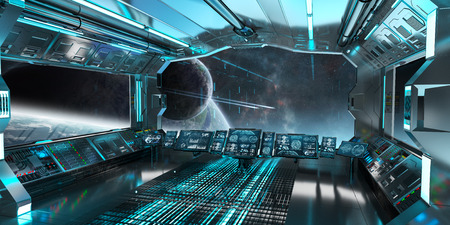 Spaceship interior with view on space and distant planets system 3D rendering Stock Photo