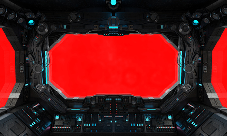 Spaceship grunge interior with view on a isolated red window 写真素材