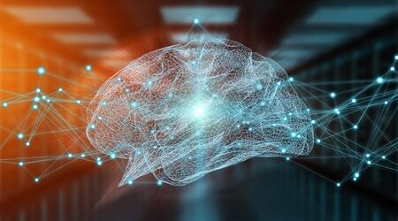 Human brain digital x-ray on server background 3D rendering