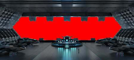 Huge blueish landing strip spaceship interior isolated on red background 3D rendering