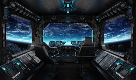 Spaceship grunge interior with view on planet Earth 3D rendering Stock Photo