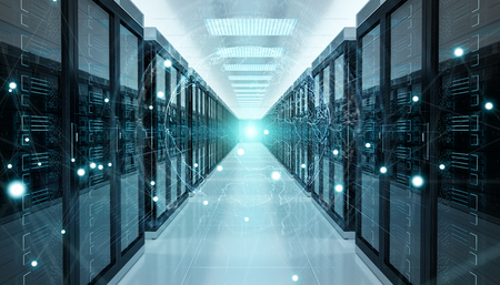 Digital white Earth network flying over server room data center 3D rendering Stock Photo