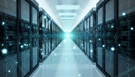 Digital white Earth network flying over server room data center 3D rendering Foto de archivo