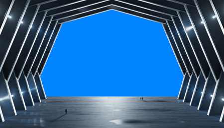Huge blueish hall spaceship interior isolated on blue background 3D rendering