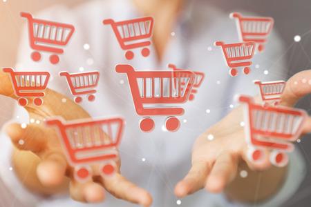 Onderneemster op vage achtergrond die het digitale het winkelen pictogrammen 3D teruggeven gebruiken Stockfoto