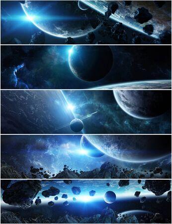 Colección de panorama del sistema de planeta distante en el espacio Elementos de representación 3D de esta imagen proporcionada por la NASA